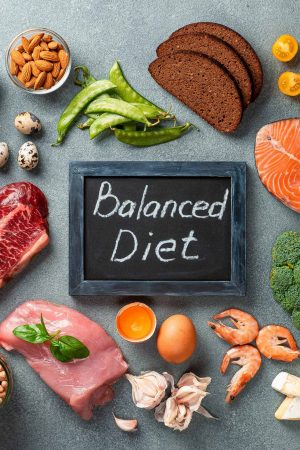Balanced diet - healthy food on gray stone background. Various food ingredients and chalkboard with words Balanced Diet. Top view or flat lay.